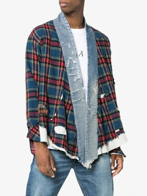 Greg Lauren Checked and Denim Front Kimono  Source: Farfetch