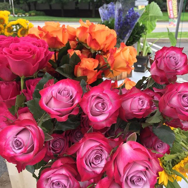 When it rains, look for rainbows 🌈 @beethovensveranda is here at the market today with a beautiful array of flowers to brighten your Saturday.  #edgewaterfarmersmarketnj #treatyoself #local #supportsmallbusiness #flowers #farmersmarket