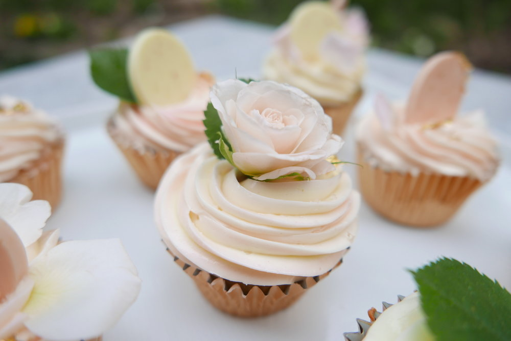 Rose meringue buttercream cupcake