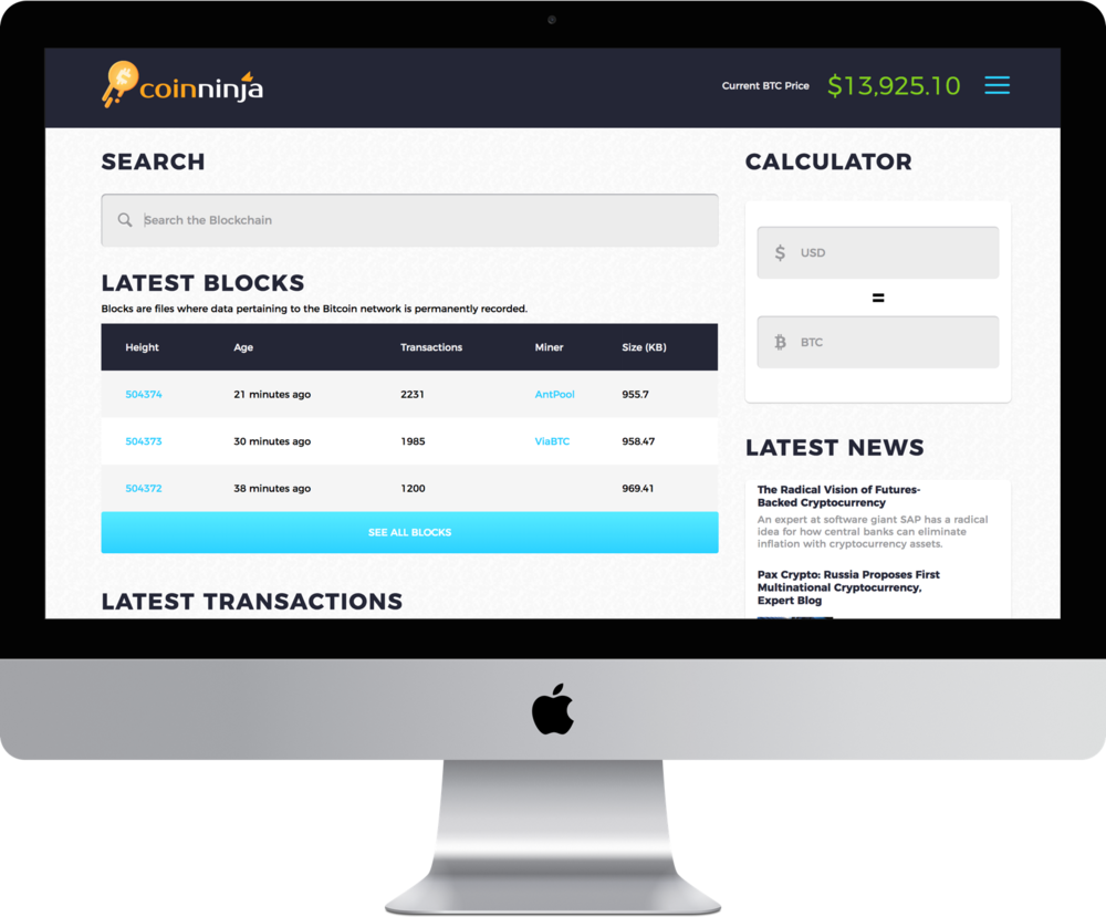 Coinninja.com will be the primary destination for Bitcoin news, education, a block explorer and more