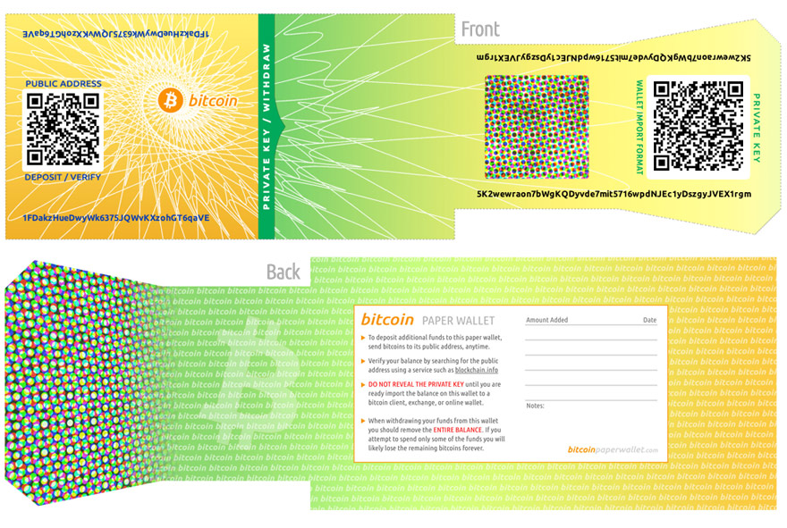 A sample Paper Wallet from Bitcoinpaperwallet.com