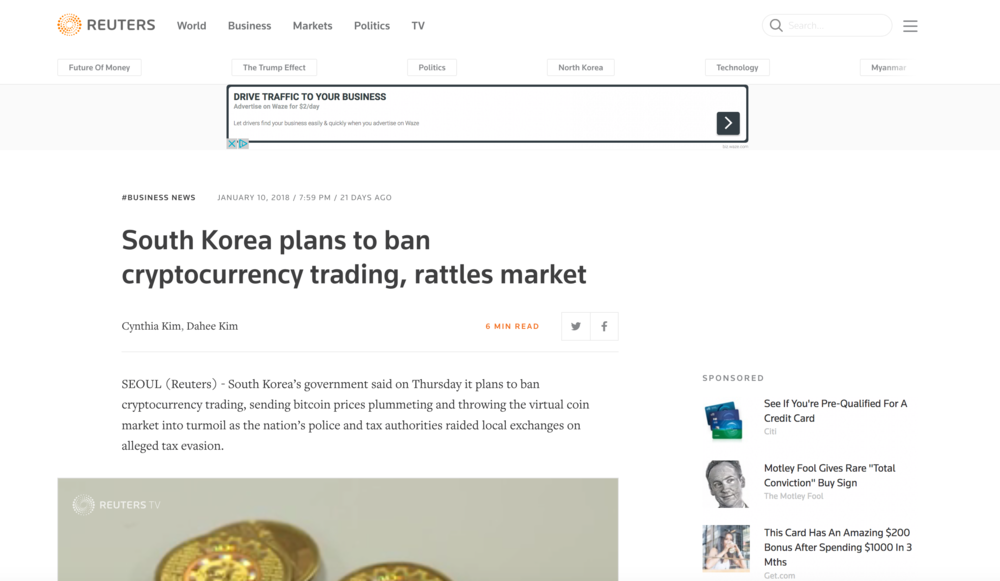 Headline from Reuters on January 10th, 2018