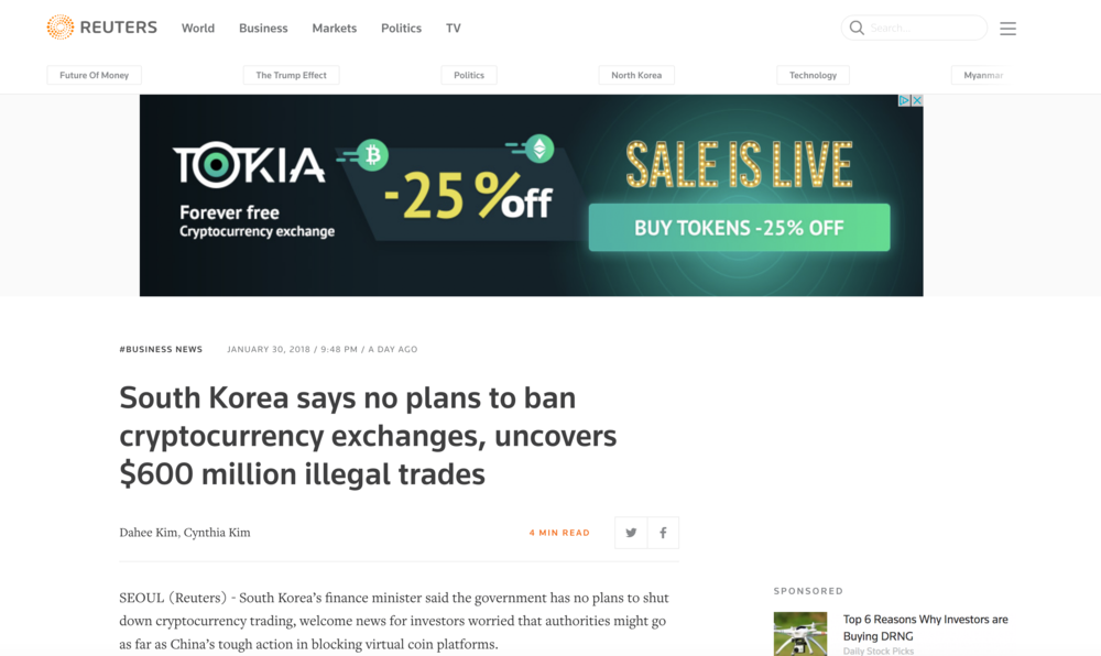 Reuters Headline from January 30th, 2018