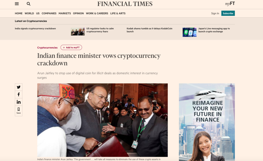 Headline from Financial Times on January 31st 2018