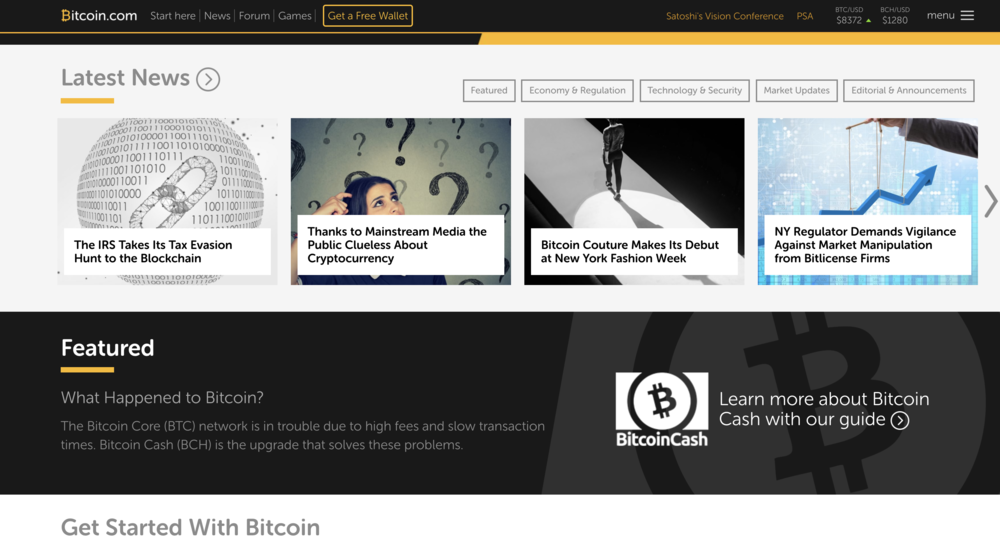 In the 'Featured' section on bitcoin.com there is a an anti-Bitcoin message