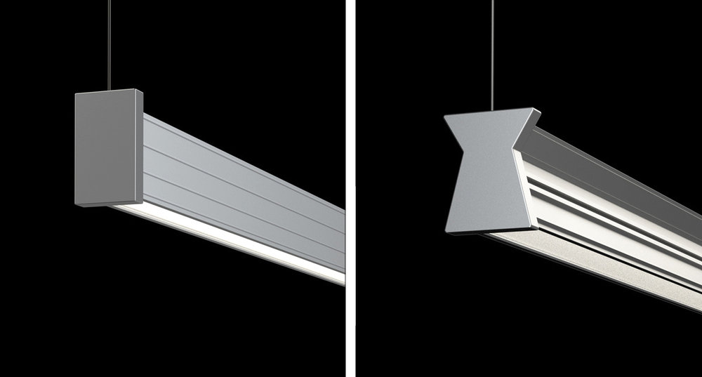 NIKOLA®PROFILES - Anodized aluminum extrusion with parabolic interior reflector. Two profiles: X shape and rectangular. The X section gives a broader beam spread and allows for a range of decorative options. Rectangular section for a slender profile and minimal size. Machined aluminum joints and ends.