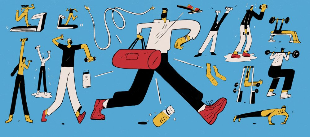 Illustration done for  one37pm  about what men carry in their gym bag