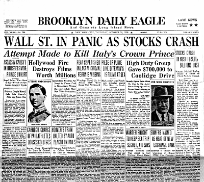Brooklyn Daily Eagle Newspaper, Oct 30, 1929 (Image:NYPL)