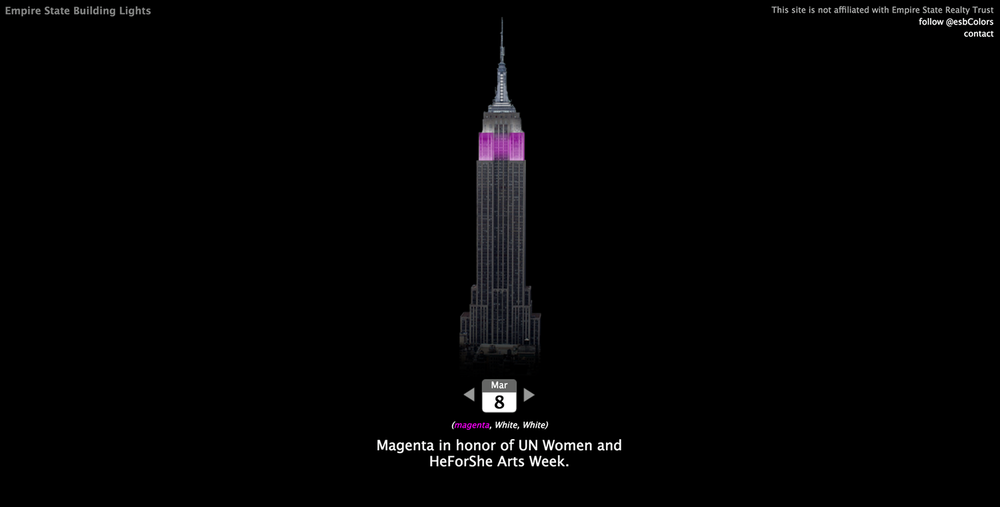 What color is the Empire State Building today?  Find out here .