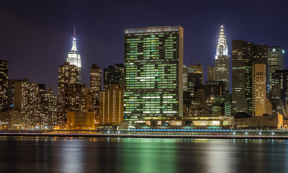 The United Nations Building (center), the Empire State Building (left), and Chrysler Building (right). Photo: LUcas Compan