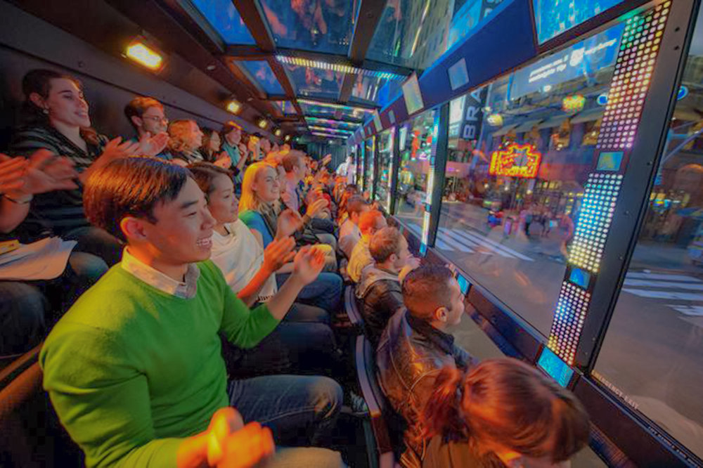 The ride new york city, The uniquely designed, $1.5 million bus offers outward-facing, stadium seating with floor-to-ceiling glass windows
