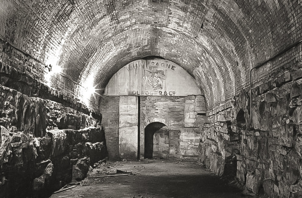 Champagne cellars hidden inside the Brooklyn Bridge.    Photo credit: Stanley Greenberg