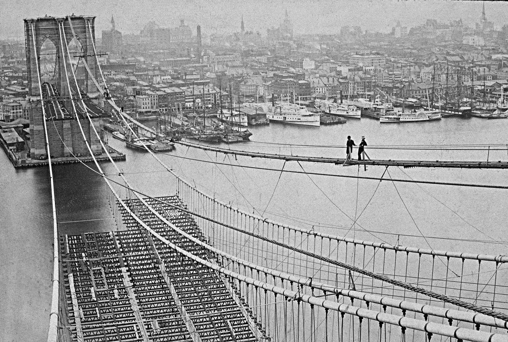 brooklyn bridge construction, 1881. image: courtesy nypl
