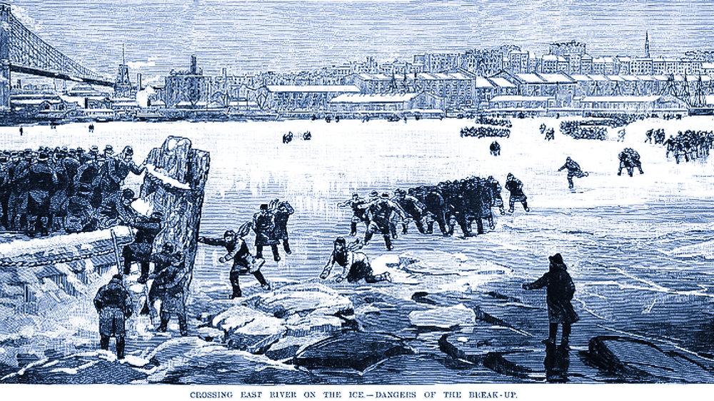 NELL'INVERNO DEL 1867, GLI ABITANTI DI BROOKLYN FURONO COSTRETTI AD UNA PERICOLOSA CAMMINATA SUL FIUME GHIACCIATO PER ANDARE A LAVORARE.