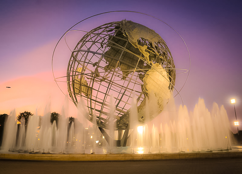 THE  UNISPHERE  IS A SPHERICAL STAINLESS STEEL  REPRESENTATION OF THE EARTH , LOCATED IN FLUSHING MEADOWS–CORONA PARK. Photo: Lucas Compan