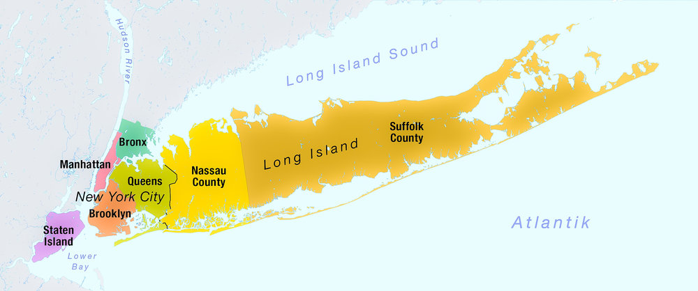 All five boroughs of New York City: Bronx, Brooklyn, Queens, Manhattan, and Staten Island