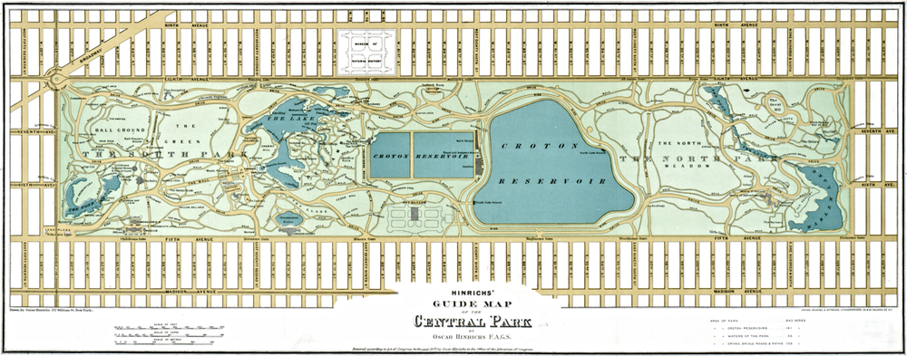A map of Central Park from 1875 | Public domain. Click to zoom in