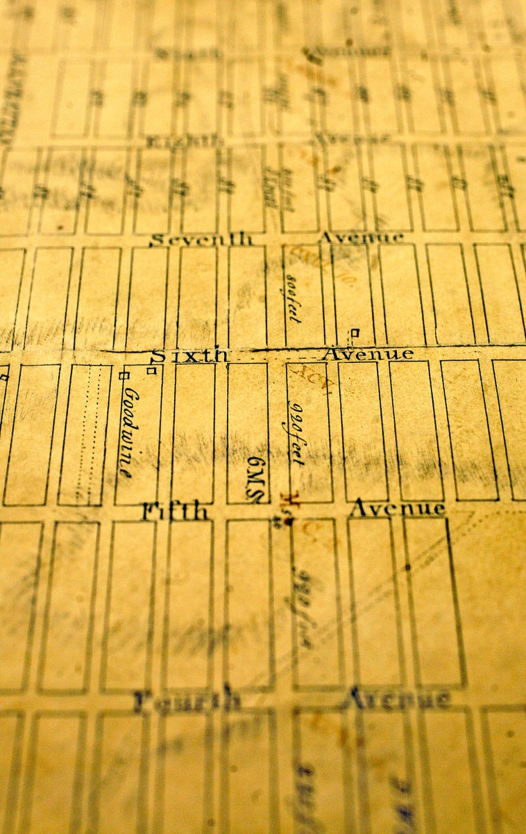 An original copy of John Randel, Jr.'s Manhattan grid map at the County Clerk's Office, in New York. The intersection in focus, Sixth Avenue at West Eighty-sixth Street, is now a part of Central Park. (Image credit: Michael Appleton / The New York Times / Redux)
