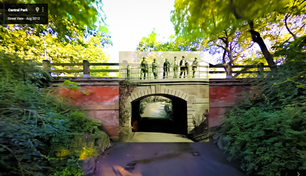 """Central Park creators """"standing"""" at the same spot they were pictured in 1862, and one-hundred and fifty years later on this juxtaposed image by Google Street View in 2012."""