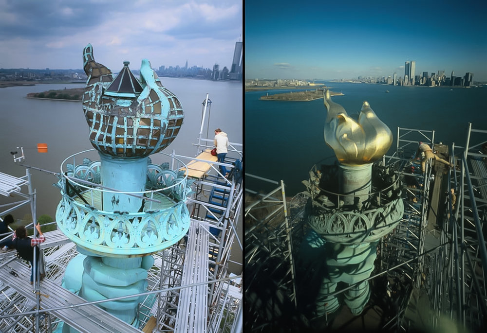 "Left: 1984 — View of the ""old"" flame, torch platform and fingers on hand, looking northeast. Right: 1985 — New torch and flame in place as workers begin dismantling the scaffolding. During the day and at dusk, the gold-leaf coating on the new torch reflects the sun's rays; after dark, 16 floodlights light up in the torch, light it up. (Photo by Jack E. Boucher / Library of Congress)"