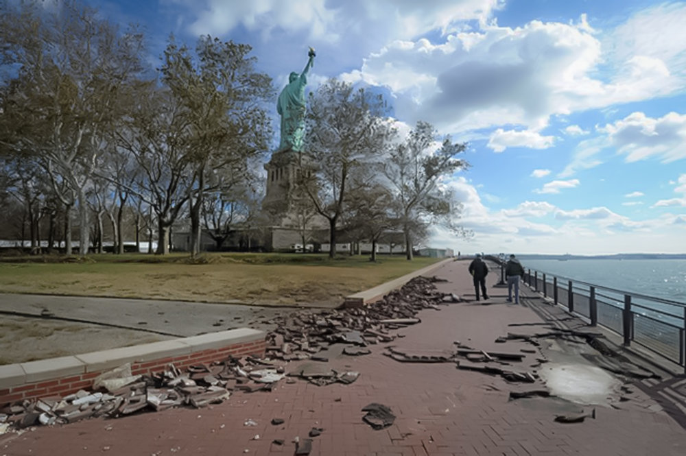 On October 29, 2012, flood waters from Hurricane Sandy covered 75% of Liberty Island and almost all of Ellis Island, flooding basements of all buildings with the exception of the Statue and Monument. image: National park service.