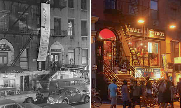 LEFT: A BANNER ADVERTISES ANDY WARHOL'S EXPLODING PLASTIC INEVITABLE IN 1966. RIGHT: THE SAME STREET TODAY. (PHOTOGRAPH: FRED W MCDARRAH/GETTY IMAGES & PAUL OWEN FOR THE GUARDIAN)