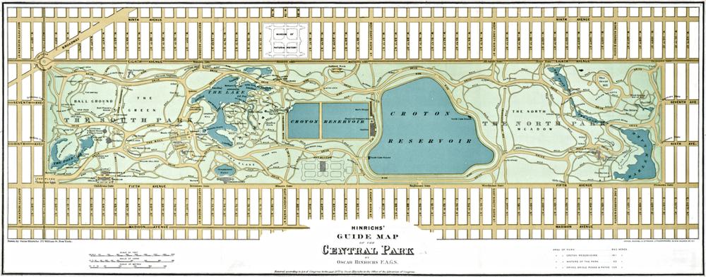 UNA MAPPA DI CENTRAL PARK DEL 1875| PUBBLICO DOMINIO. CLICCA E INGRANDISCI