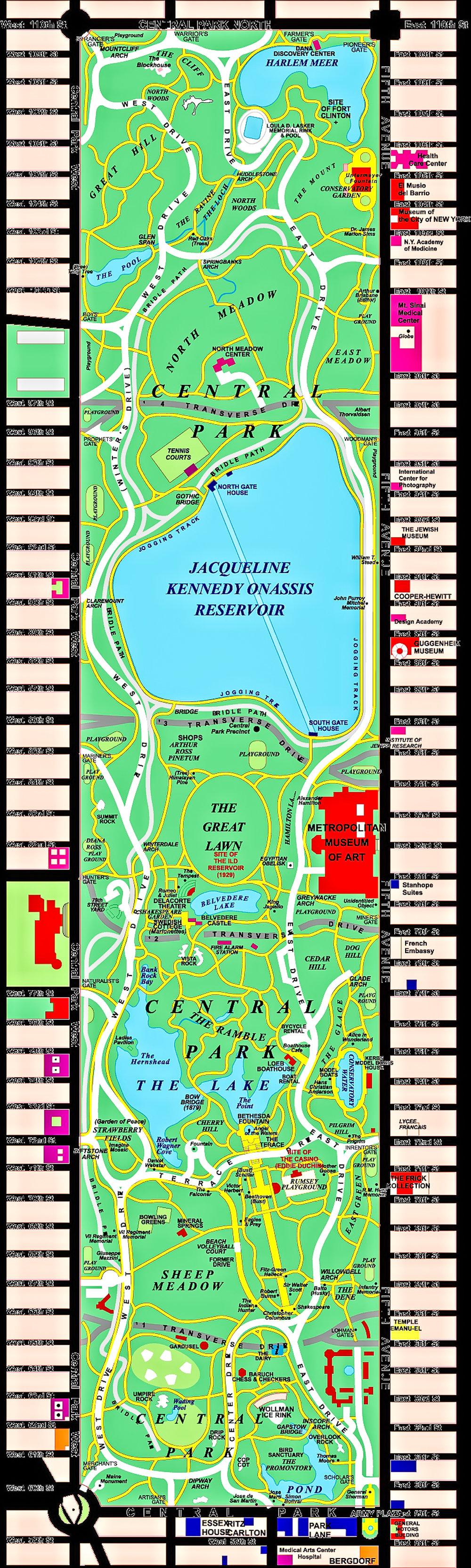 MAPPA DETTAGLIATA DI CENTRAL PARK. IMMAGINE: CENTRAL PARK CONSERVANCY