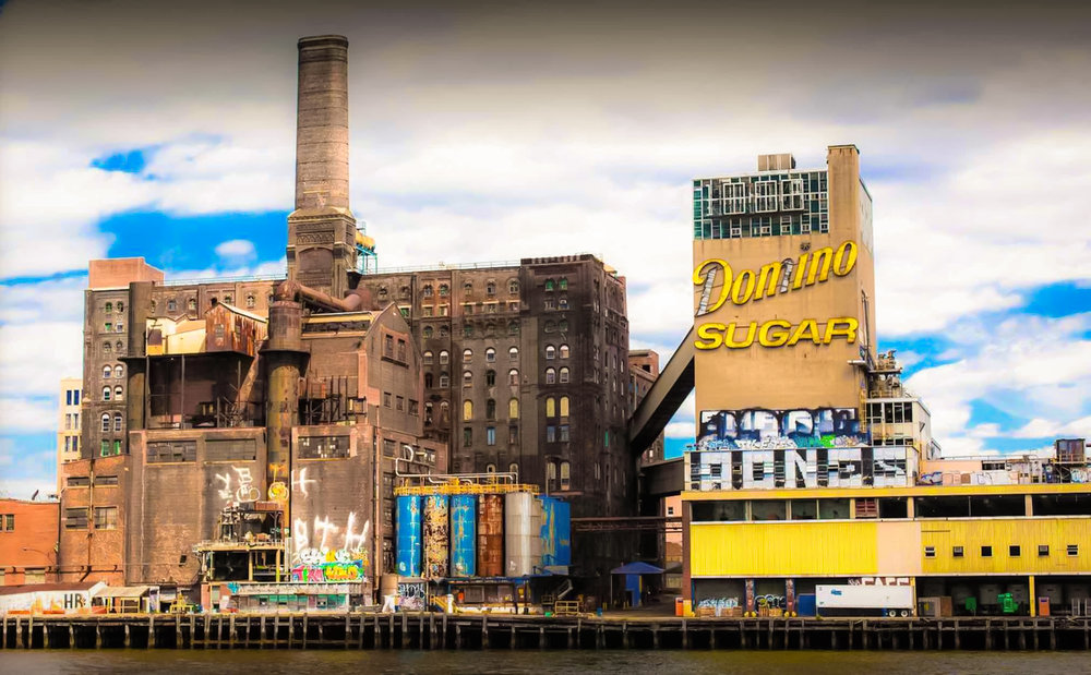 the old refinery from the east river. A view from the north end of the raw sugar warehouse. (photo:  Paul Raphaelson )