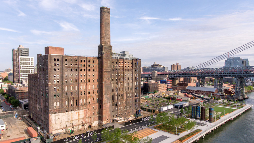 The old domino sugar factory and the new domino sugar factory park, opened in june 2018.  (Photo credit: Daniel Levin)