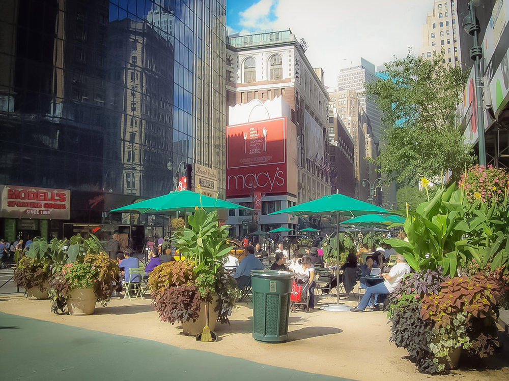 relaxing area in herald square, near macy's. photo: google