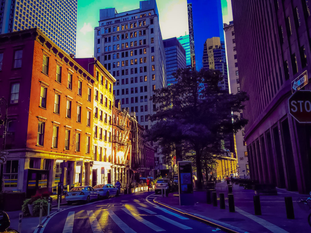"""Before the sunset, on my way to the """"Tribute in Lights"""" exact spot in downtown Manhattan. Photo: lucas compan"""