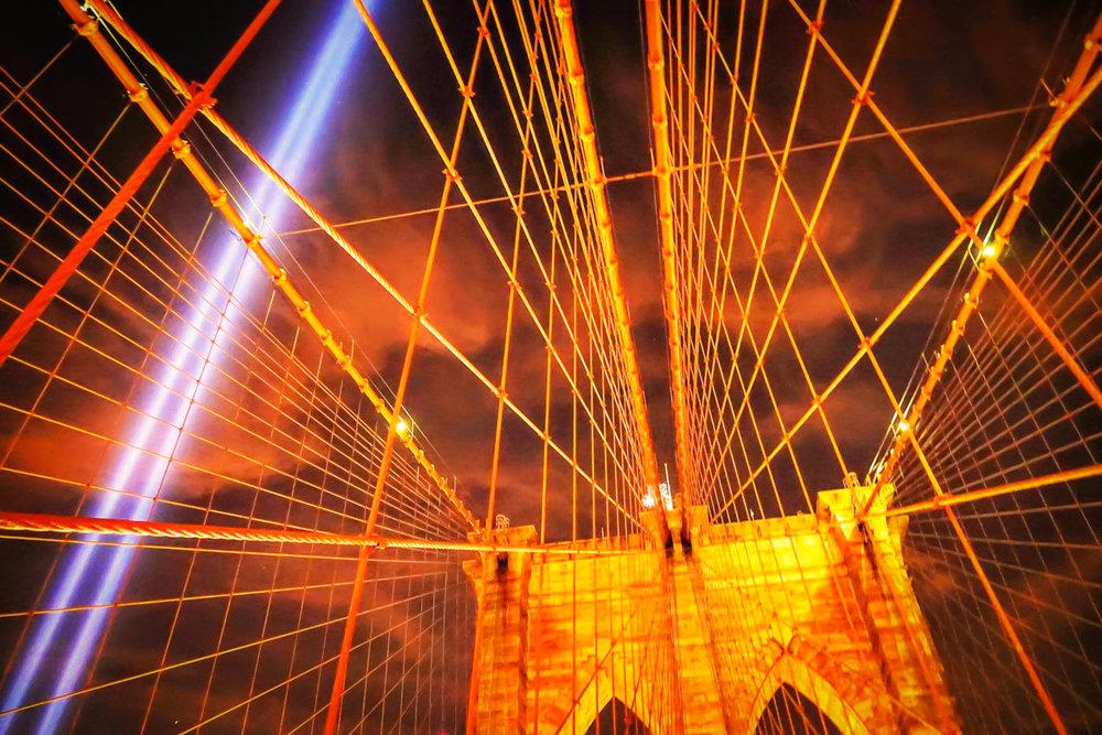 """Tribute in Light"" seen from the Brooklyn Bridge. Photo: Lucas Compan"