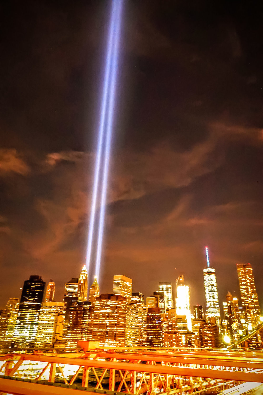 """Tribute in Light"" seen from the Brooklyn Bridge. Photo: Lucas Compan"