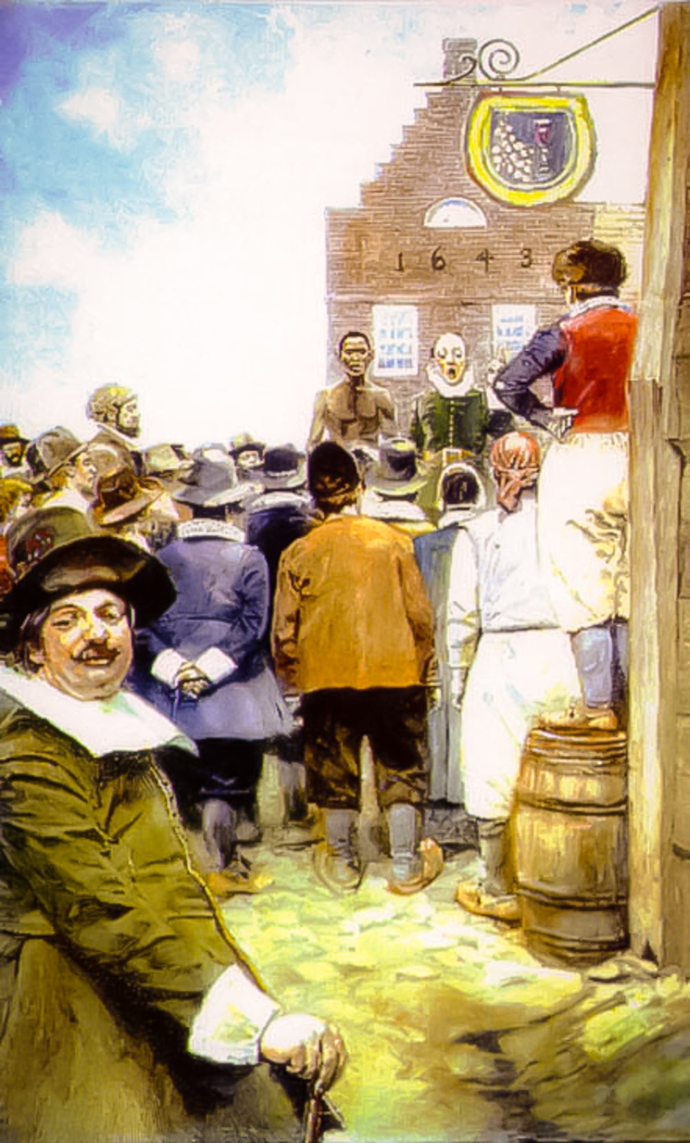 The New York City slave market in New Amsterdam in 1655 (illustration by Howard Pyle from 1917, via  Wikimedia ) (click to enlarge)