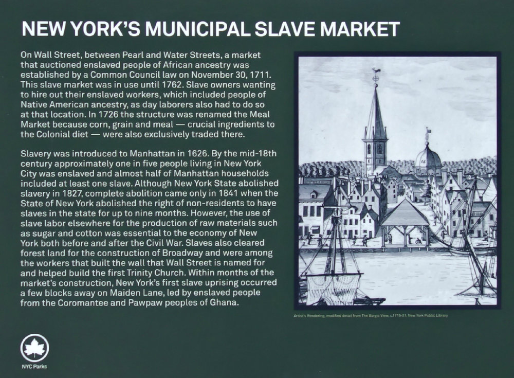 Detail of the plaque with the Burgis map image of the Wall Street Slave Market