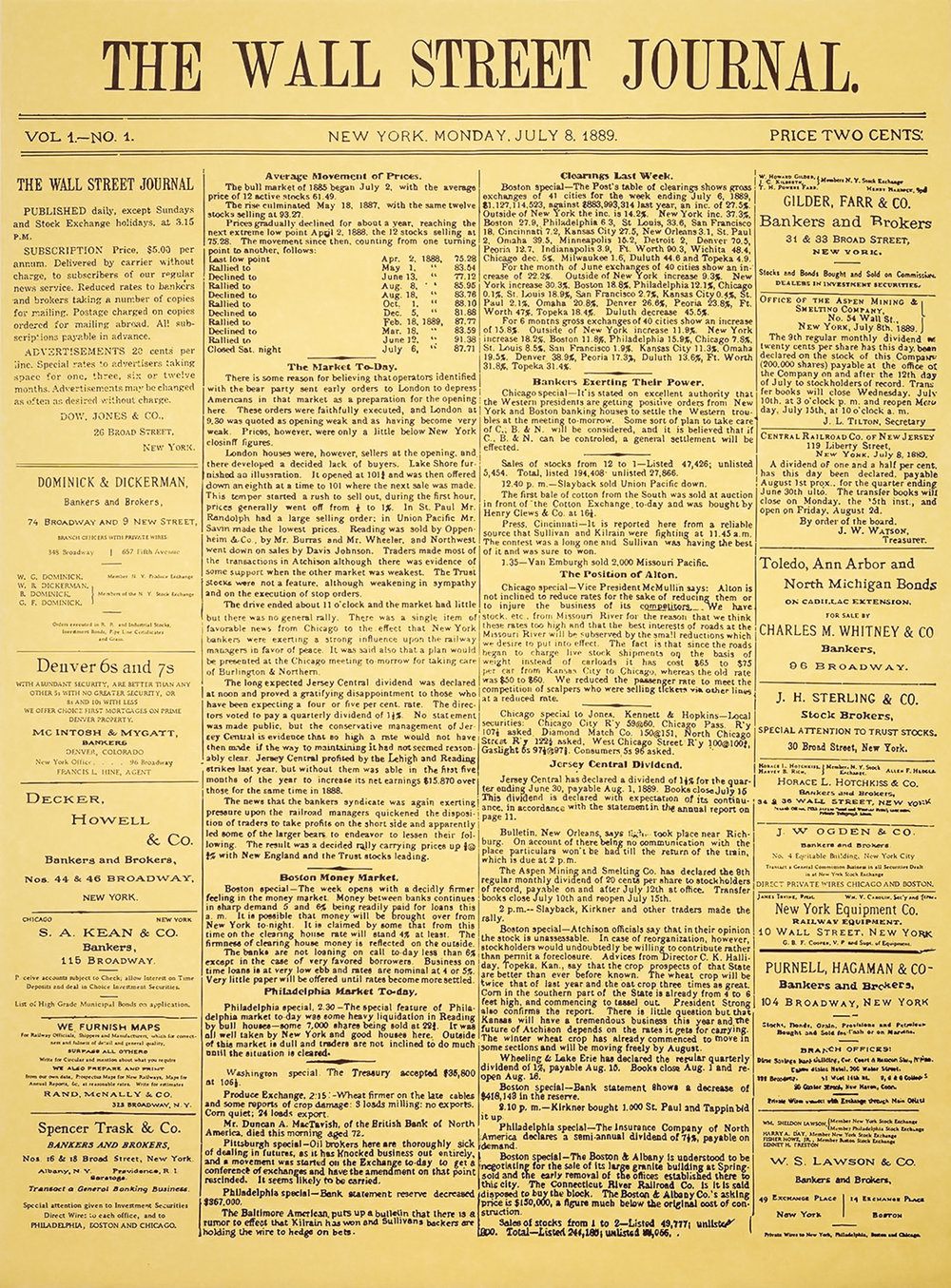 The Wall Street Journal - first edition, New York, Monday, July 8, 1889.