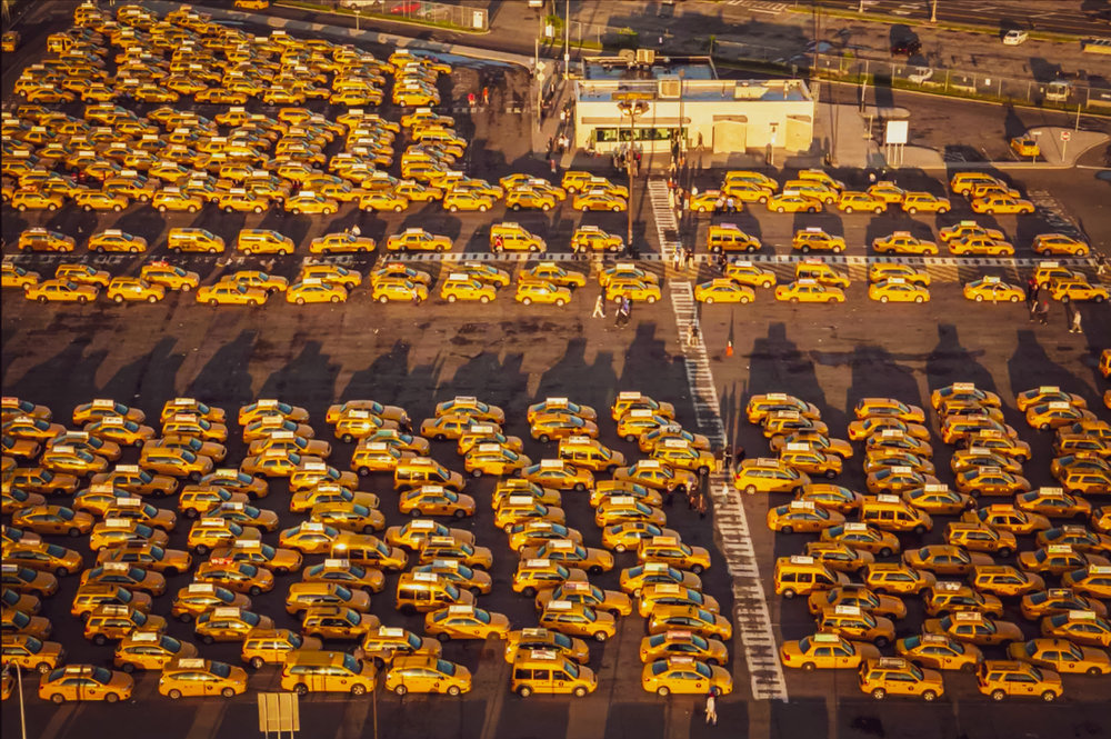 the iconic yellow cabs parking lot