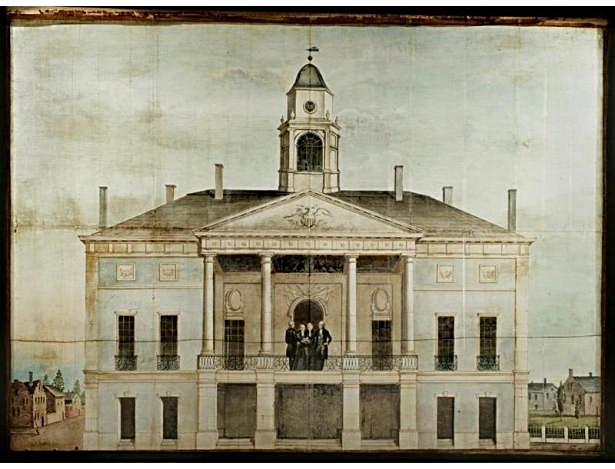 federal hall in 1789, where the first president of the united states, george washington, was sworn in (image: NYPL)