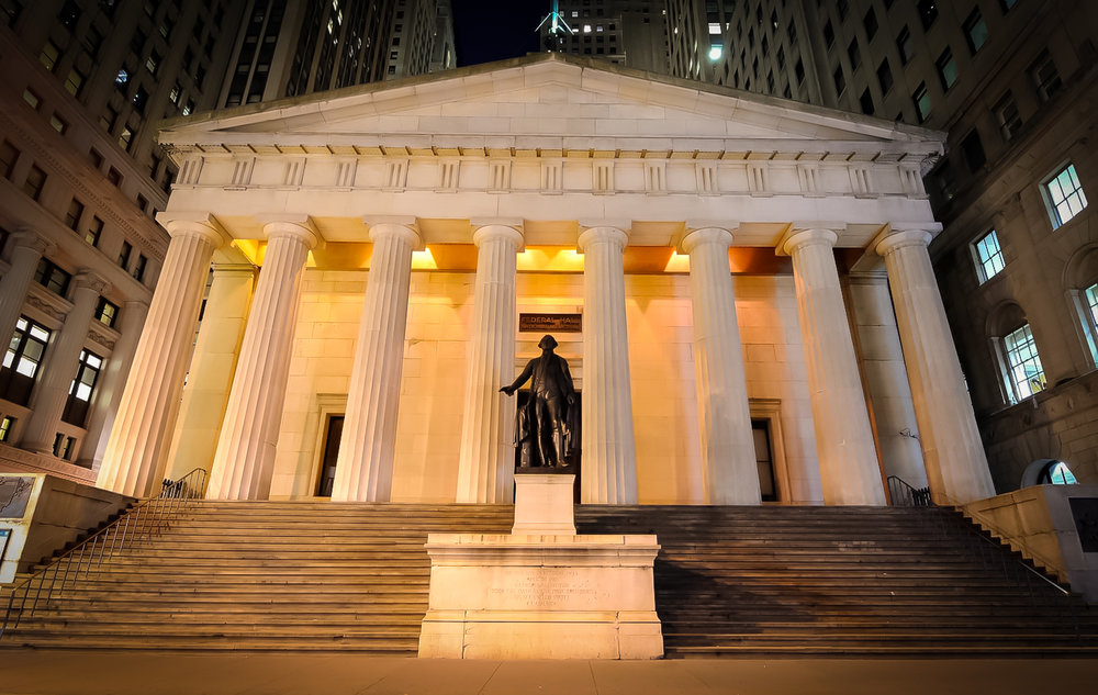 26 wall street is the location of the federal hall, pictured here in 2017, where the first president of the united states, george washington, was sworn in (photo: lucas compan)