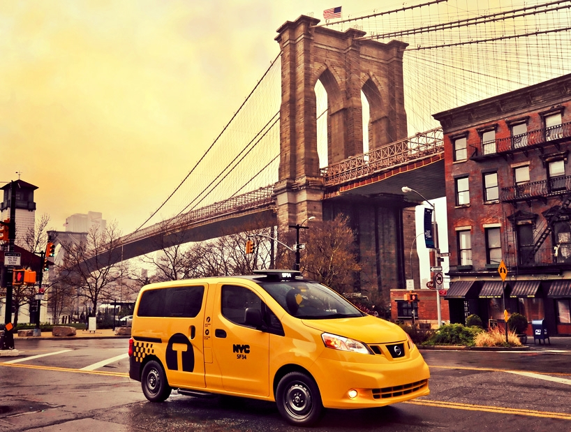The iconic yellow taxi cab – in Dumbo, Brooklyn