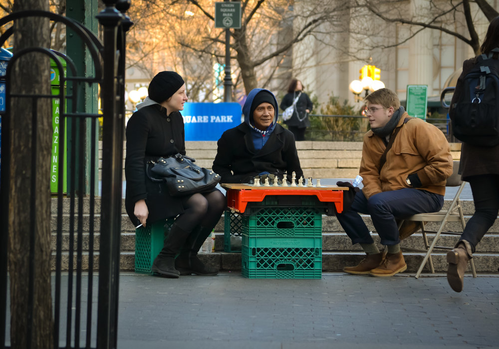 Winter, summer, spring, autumn: the chess players work all-year long. Photo: Google