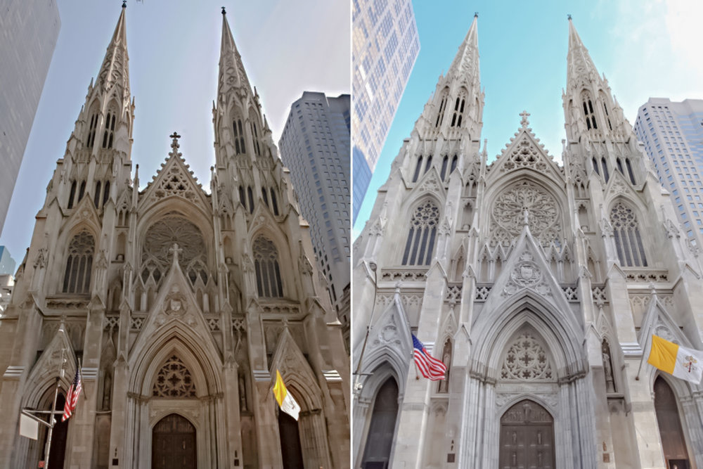 Decades of dirt (left) were washed away after St. Patrick's revealed its cleaned exterior on December 2014. And, yes, it also looks like they have washed away all the surrounding buildings :-) (Photo: Google)