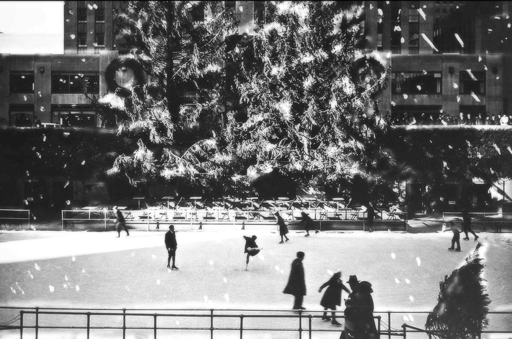 Two trees were erected at Rockefeller Center and a skating pageant was held at the newly-opened ice skating rink on the plaza. [70 feet (22 meters) tall, from Morristown, NJ. Image: NYPL
