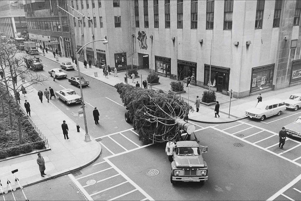 The Christmas Tree has long received the white-glove treatment on its journey to the heart of Manhattan. The Tree is frequently dressed in giant red bows or banners extending holiday greetings to those who witness its pilgrimage. Trucks, barges, and even a plane have all helped the Tree make it to the big city. [60 feet (18 meters) tall, from Hurley, New York]. image: nypl