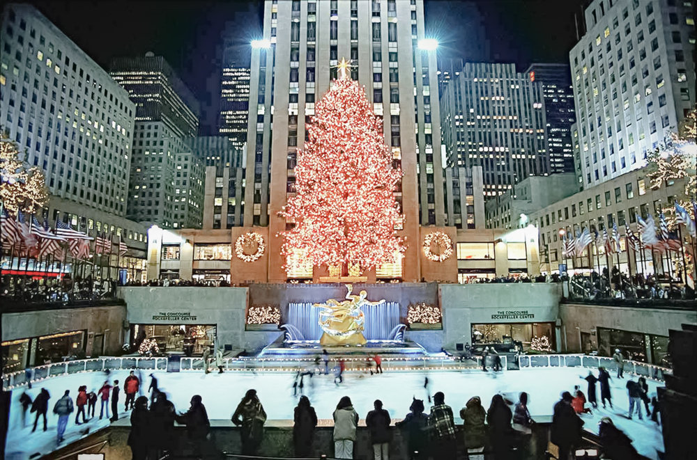 In December 2001, visitors from around the world came after September 11th to see the Tree decorated in a patriotic red, white, and blue. [81 feet (24.5 meters) tall, from Wayne, New Jersey]. image: google