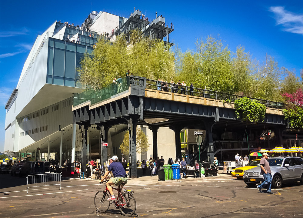 The new Whitney Museum of American Art and the southern tip of the High Line as seen from the intersection of Gansevoort and Washington streets. photo credit:   Hyperallergic