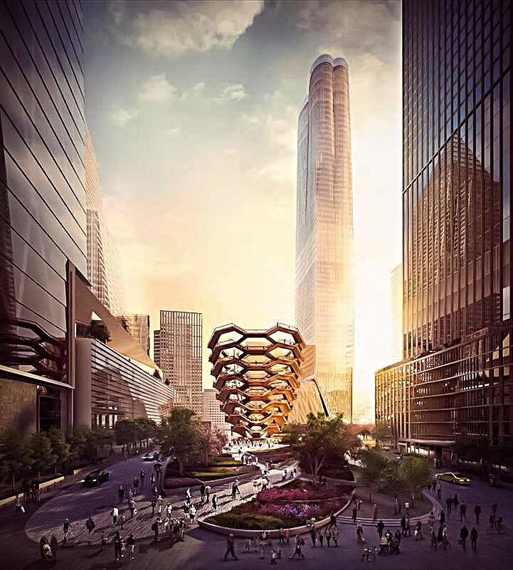 "the new neighborhood ""hudson yards"" and the future ""vessel"" (grand opening: spring 2019)"