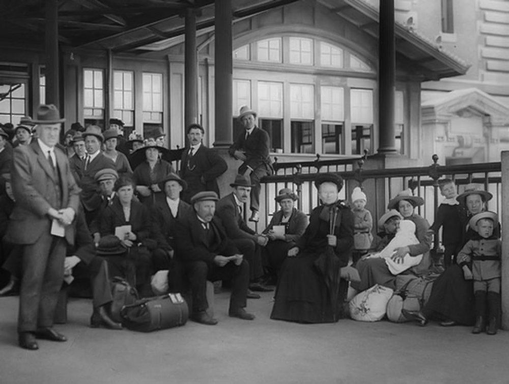 Immigrants Awaiting Examination, Ellis Island, c. 1910. Image: ellis island immigration museum