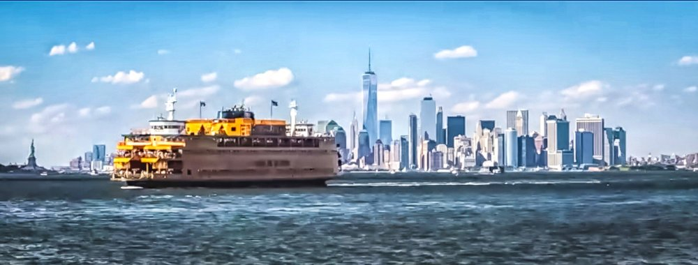 staten island ferry, statue of liberty, and one wtc at lower manhattan. photo:    @lucascompan